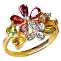 золотое кольцо родолит турмалин цитрин хризолит фианиты Ювелирная компания МАБЭ