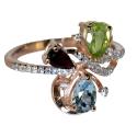 золотое кольцо голубой топаз гранат хризолит фианиты Ювелирная компания МАБЭ