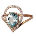 золотое кольцо голубой тпаз фианиты Ювелирная компания МАБЭ