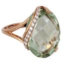 золотое кольцо зеленый аметист фианиты Ювелирная компания МАБЭ