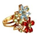 золотое кольцо голубой топаз гранат хризолит Ювелирная компания МАБЭ