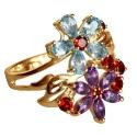 золотое кольцо голубой топаз гранат аметист Ювелирная компания МАБЭ