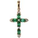 Золотой крестик бриллианты изумруды Ювелирная компания МАБЭ