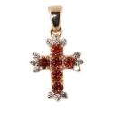Золотой крестик с гранатами и фианитами Ювелирная компания МАБЭ