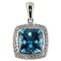белое золото подвеска голубой топаз бриллианты Ювелирная компания МАБЭ
