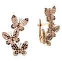 серьги золото фианит бабочки  ювелирная компания МАБЭ
