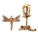 серьги  из золота фианит стрекоза пусеты  ювелирная компания МАБЭ