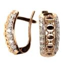 золотые серьги  фианит алмазная грань ювелирная компания МАБЭ