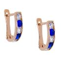 золотые серьги фианит белые синие дорожка ювелирная компания МАБЭ
