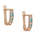 золотые серьги фианит дорожка белые голубые ювелирная компания МАБЭ