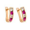 золотые серьги фианит дорожка белые розовые ювелирная компания МАБЭ