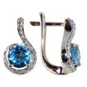 серьги белое золото  голубой топаз бриллиант  ювелирная компания МАБЭ