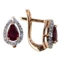 серьги золото рубин бриллиант  капля ювелирная компания МАБЭ