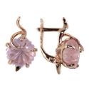 серьги золото кварц розовый ювелирная компания МАБЭ