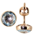 золотые серьги голубой топаз пусеты ювелирная компания МАБЭ