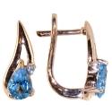 золотые серьги голубой топаз фианит ювелирная компания МАБЭ